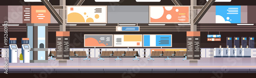 Valokuvatapetti Train Subway Or Railway Station Interior Empty Platform With No Passengers Trans
