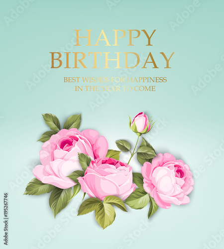 happy birthday card template on blue background pink garland of