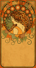 Autumn Banner With Girl In Art Nouveau Style, Vector Illustration