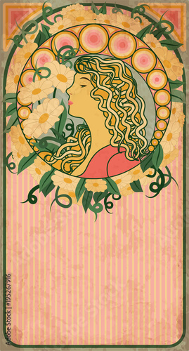 Spring banner with girl in art nouveau style, vector illustration Wall mural