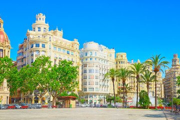 Fototapeta na wymiar Modernism Plaza of the City Hall of Valencia, Town hall Square.