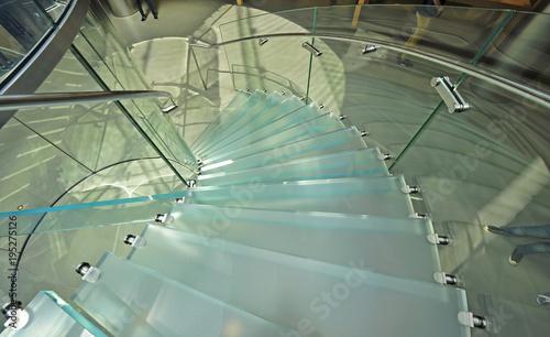 Modern glass stair outline walking man in Shanghai, China