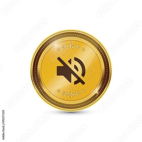 Mute Circular Gold Vector Web Button Icon - Buy this stock