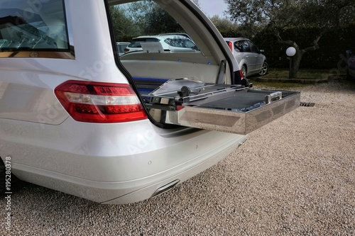 hearse open and empty Canvas Print