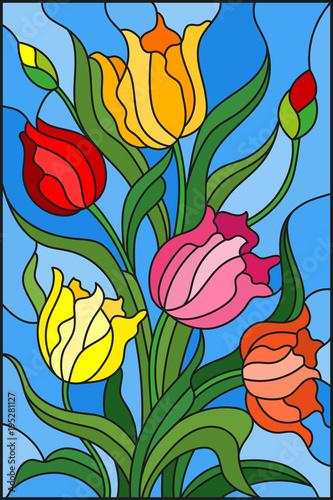 ilustracja-w-witrazu-stylu-z-bukietem-kolorowi-tulipany-na-blekicie