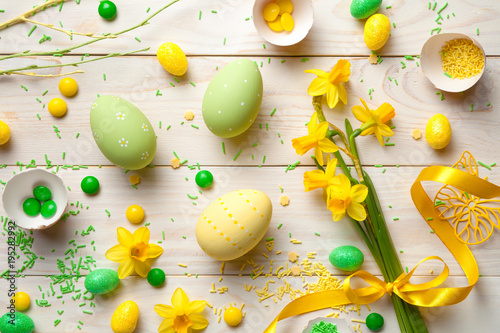 Garden Poster Narcissus Easter Background with Easter Eggs and Spring Flowers