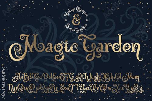Fotografía Beautyfull decorative font named Magic Garden with nice textured noise effect