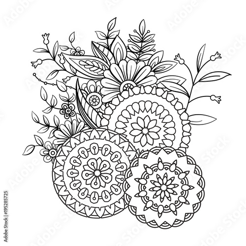 Adult coloring book page with flowers and mandalas. Floral ...