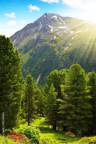 Foto op Canvas Guilin Spring mountain landscape. Natural park Riesenferner in Dolomites Alps, South Tyrol, Italy.