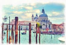 Canal Grande With Basilica Di ...