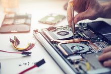 Technician Repairing Laptop Computer Closeup