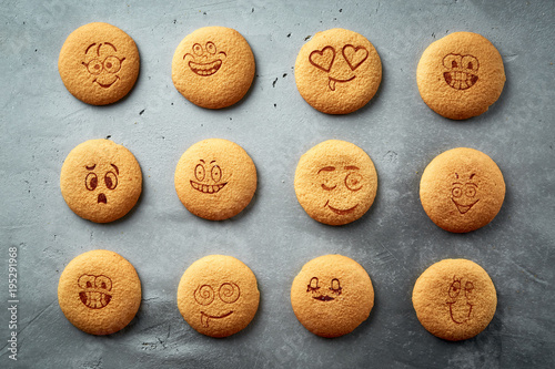 Foto op Aluminium Koekjes set of round cookies with different emotions, faces with emotions