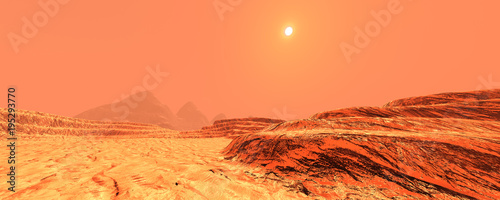 Photo Stands Coral 3D Rendering Planet Mars Lanscape