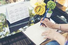 2020 Calendar Planner Agenda Plan On  Schedule Event. Timetable Agenda Of Wedding Organizing Timetable By Organizer Schedule. Woman Hands Writing Agenda On Calendar Desk. Calendar Event Plan Concept