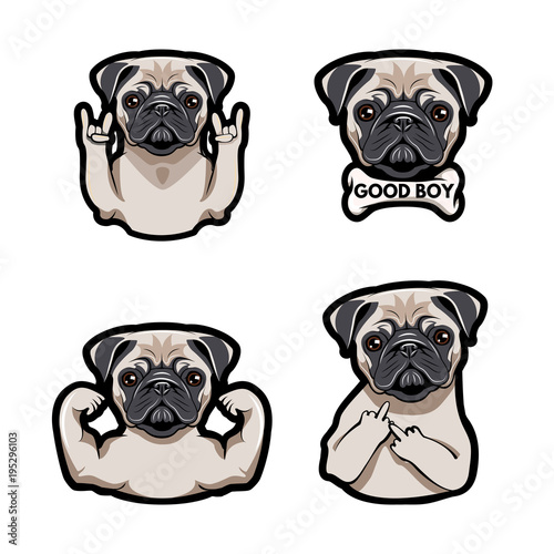 Foto Icon with pug dog with gestures.  illustration.