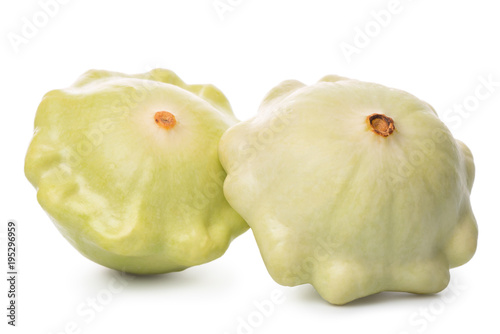 pattypan squash or patisson isolated on white background, concept of vegetarian food