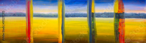 Cadres-photo bureau Melon Oil painting set of 5 parts - yellow landscape, summer field, warm day, blue sky and forest wood artwork modern art illustration