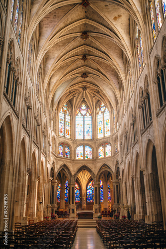 Vászonkép interior of Saint Severin gothic church