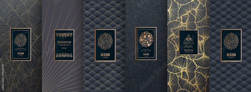 Fototapety, obrazy: Collection of design elements,labels,icon,frames,for packaging,design of luxury products. for perfume,soap,wine,lotion.Made with golden foil.Isolated on gold and brown background.vector illustration