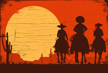 Silhouette Of Three Mexican Co...