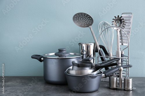 Foto op Plexiglas Koken Metal cooking utensils on table