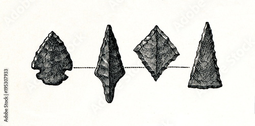 Stone arrowheads from prehistoric stilt-house settlement (from Meyers Lexikon, 1 Wallpaper Mural