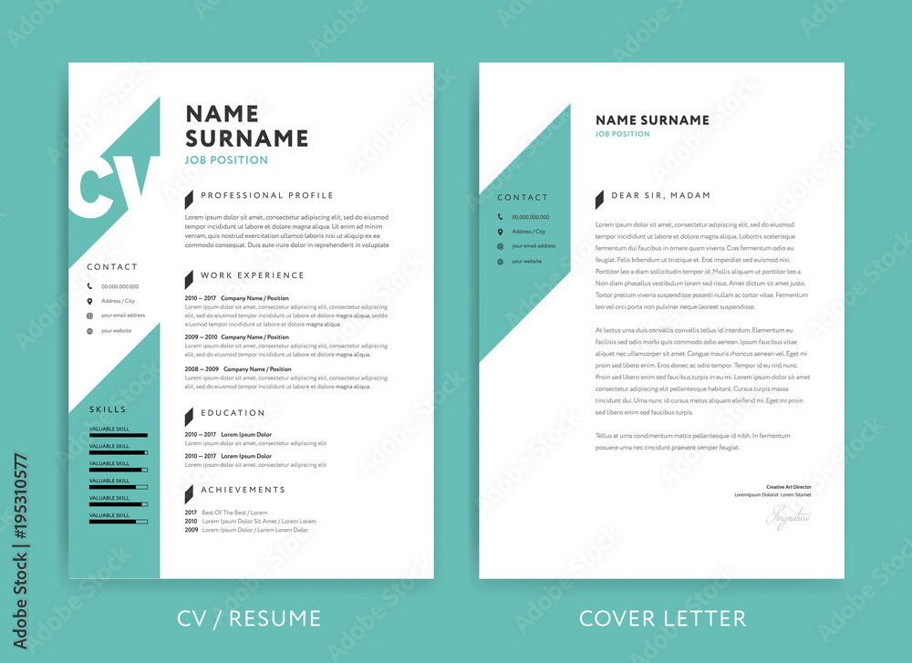 Photo Art Print Creative Cv Resume Template Teal Green