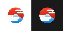 Japanese Red Logo With Fuji Mountain And Japan Sun - Vector Circle Emblem - Japan Abstract Illustration
