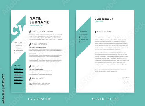 Creative Cv Resume Template Teal Green Background Color Minimalist Vector Buy This Stock Vector And Explore Similar Vectors At Adobe Stock Adobe Stock