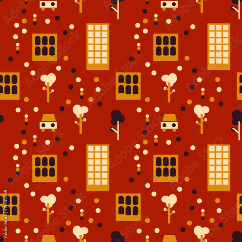 City life seamless pattern. Suitable for screen, print and other media. Wall mural