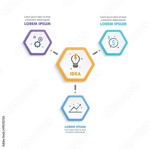 Fototapeta Business Infographic Template.Modern Hexagonal Infographics Timeline Design Template.Vector Illustration obraz na płótnie