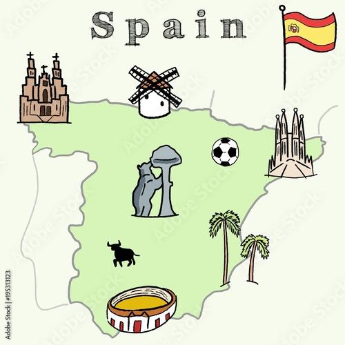Photo  Spain vector map