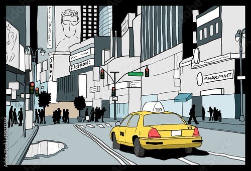 Obraz taxi  new-york-city-night