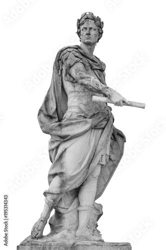 Canvastavla Roman emperor Julius Caesar statue isolated over white background