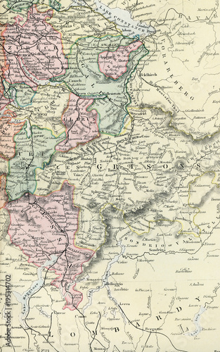 Vintage Map of Switzerland - Early 1800 World Maps - Buy this stock ...