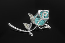 Silver Brooch Rose Flower With...