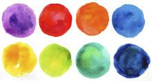 Watercolor Hand Painted Circle Shape Design Elements.
