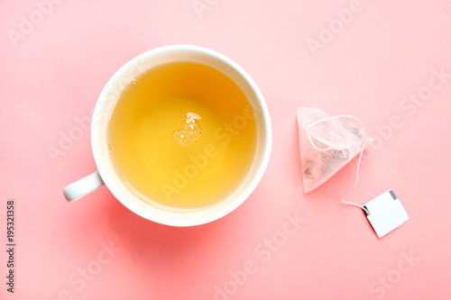 green tea and tea bag