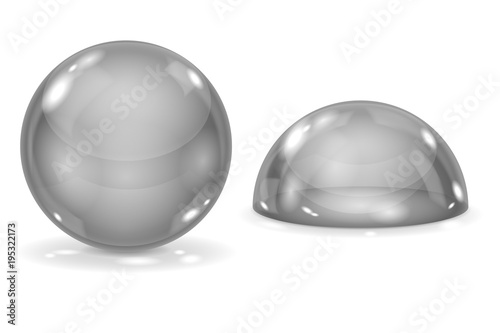Glass ball and blue dome. Gray sphere and semi-sphere Poster Mural XXL