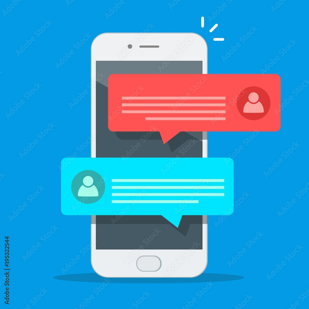 Fototapeta Chat messages notification on smartphone vector illustration, flat cartoon sms bubbles on mobile phone screen, man person chatting on cellphone with woman isolated