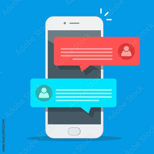 Fotografía  Chat messages notification on smartphone vector illustration, flat cartoon sms b