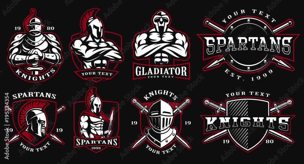 Fototapeta Set of badges with ancient warriors