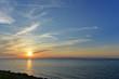 日本海、佐渡島に沈む夕日