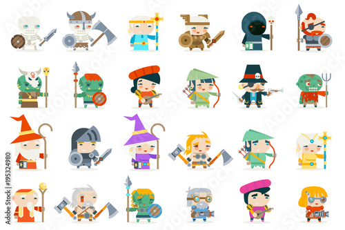 Set fantasy rpg game heroes villains minions character vector icons flat design Wallpaper Mural