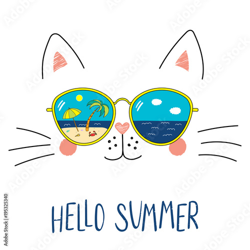 Photo Stands Illustrations Hand drawn portrait of a cute cartoon funny cat in sunglasses with beach scene reflection, text Hello Summer. Isolated objects on white background. Vector illustration. Design change of seasons.