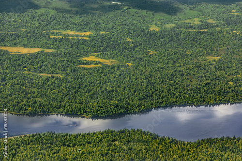 USA, Alaska, Talkeetna: Aerial view of river and forest landscape