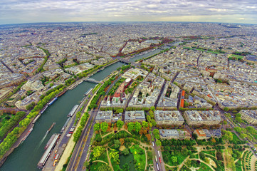 Fototapetaaerial view of Paris city and Seine river from Eiffel Tower
