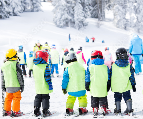 Ski school for kids on polygon