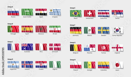 Soccer flags participant with wave effect. Wallpaper Mural