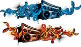 Fototapeta Młodzieżowe - Boom box in graffiti style